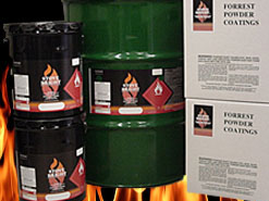 showing tubs of Stove Bright high temperature powder coatings